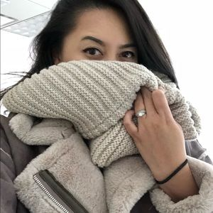 Blush/beige winter infinity scarf